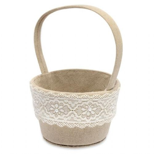 Linen & Lace Flower Girl Basket